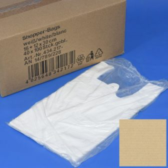 Bevásárló tasak 16+12x30 cm fehér, ingvállas