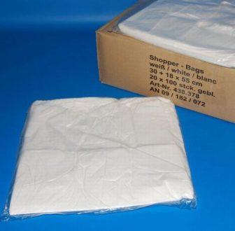 Bevásárló tasak 30+18x55 cm fehér, ingvállas