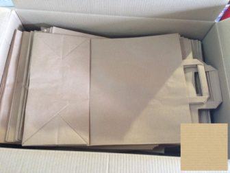 Papír tasak szalagfüles 220+100x360mm natúr, 80g/m2, 250 db/karton, 50 db/hajtás