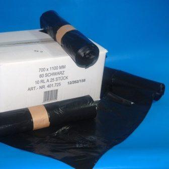 Zsák LDPE/reg 700x1100mm/35mikron, fekete, 25db/tek., 250db/#