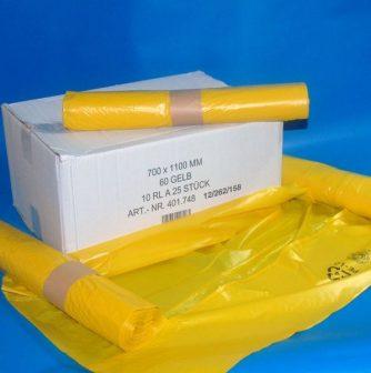 Zsák 700x1100mm/35my LDPE sárga