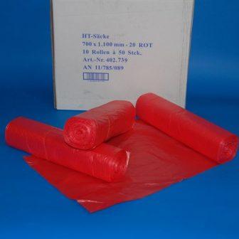 Zsák 700x1100mm/20my HDPE piros