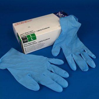 Gumikesztyű (Latex), kék, méret: M, púderezett