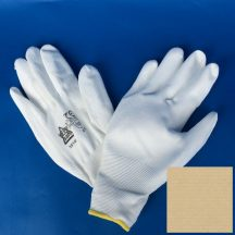 Védőkesztyű PU tenyérmártott ROCK, méret: 09/XL, fehér, 12 pár/gyűjtő